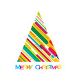 colorful merry christmas tree vector image vector image