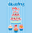 colorful wedding desserts poster vector image vector image