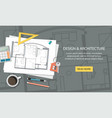 construction architect house plan with tools vector image
