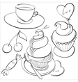 cup and cakes vector image