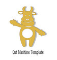 cut mashine template merry ox 2021 wearing mittens vector image vector image