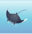 cute cartoon manta ray swimming vector image vector image