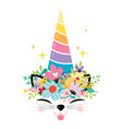 cute unicorn cat isolated on white background vector image vector image