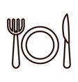 dish fork and knife kitchen line icon style vector image