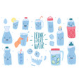 drink more water cute drinking eco bottles vector image