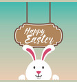 easter bunny with a light green and pink shade vector image