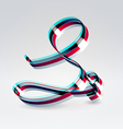 Fantasy plastic 3d glowing ribbon typeface vector image