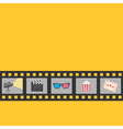 Film strip icon set Popcorn clapper board 3D vector image