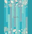 fish seashell starfish and coral frame on wood vector image
