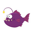 funny cartoonanglerfish vector image