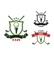golf emblems with shields balls and clubs vector image vector image