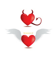 Good and evil hearts vector image