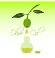 green natural olive oil production drip to bottle vector image