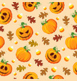 halloween pumpkin seamless pattern with oak vector image vector image