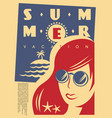 happy girl with sunglasses on summer vacation vector image