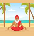hindu in turban sitting and meditating in yoga vector image