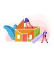 human builder construction color home vector image vector image