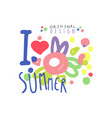 i love summer logo template original design vector image vector image