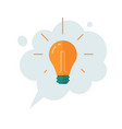 idea thinking cloud bubble with lightbulb icon vector image