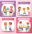 inclusion inclusive education icon set vector image
