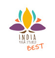 india yoga studio best logo colorful hand drawn vector image vector image