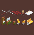 isometric barber shop elements set vector image