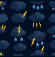 lightning cloud rain seamless pattern thunder vector image