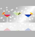 manhattan cocktail dry martini and blue lagoon on vector image vector image