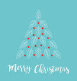 merry christmas fir tree made from white line vector image