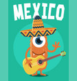 monster with sombrero and guitar vector image