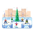 Municipal skating rink Christmas tree vector image vector image