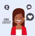 portrait woman cartoon viral content vector image