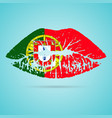 portugal flag lipstick on the lips isolated on a vector image vector image