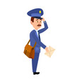 postman delivering letter isolated cartoon vector image vector image