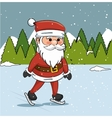 santa claus ice skating landscape graphic vector image