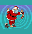 santa claus with a gift sock new year vector image