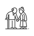 senior couple - line design single isolated vector image