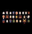set isolated japanese theatrical noh masks vector image