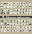 set of business and bitcoin icons vector image