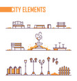 set of city elements - modern line design style vector image