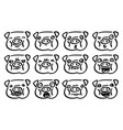 set of cute piggy face emotion vector image