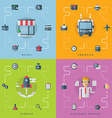 Set of Flat Conceptual Retail Logistics Startup vector image