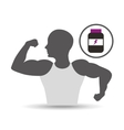 silhouette man showing muscle with ball soccer vector image vector image