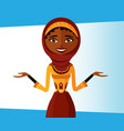smiling arab office woman presents something vector image vector image