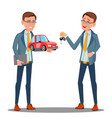 smiling insurance agent holding a car in hand vector image