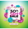 spring sale design template with colorful flowers vector image