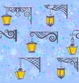 street lanterns seamless pattern vector image