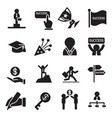 succuess icons set vector image vector image