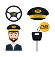 taxi service set driver key internet elements vector image