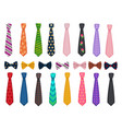 tie collection men suits accessories bows and vector image vector image
